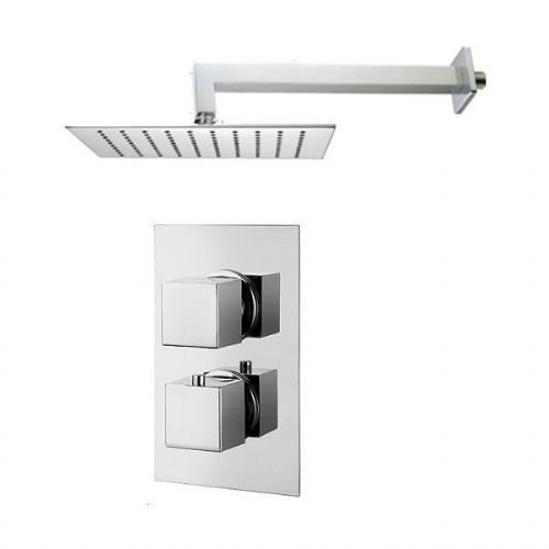Abacus Emotion Thermostatic Square Concealed Shower Mixer With OverHead - Chrome